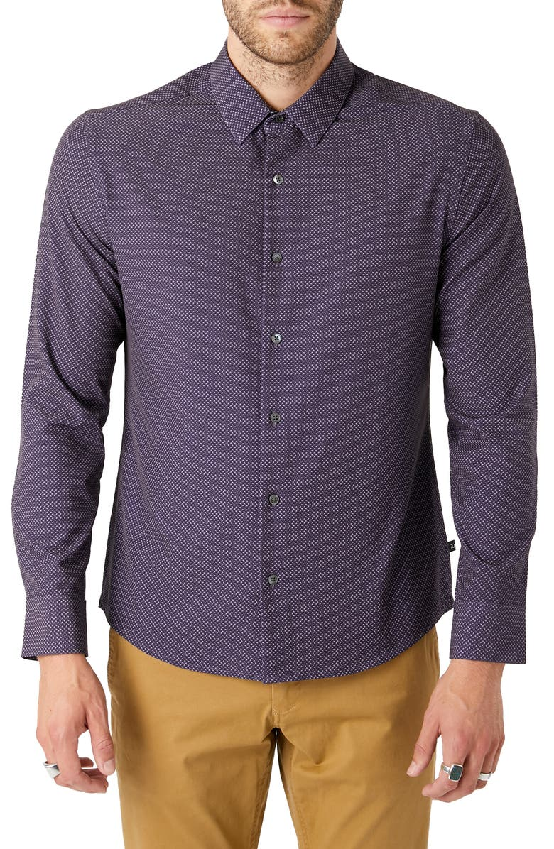 7 DIAMONDS In My Feelings Slim Fit Button-Up Performance Shirt, Main, color, GRAPE