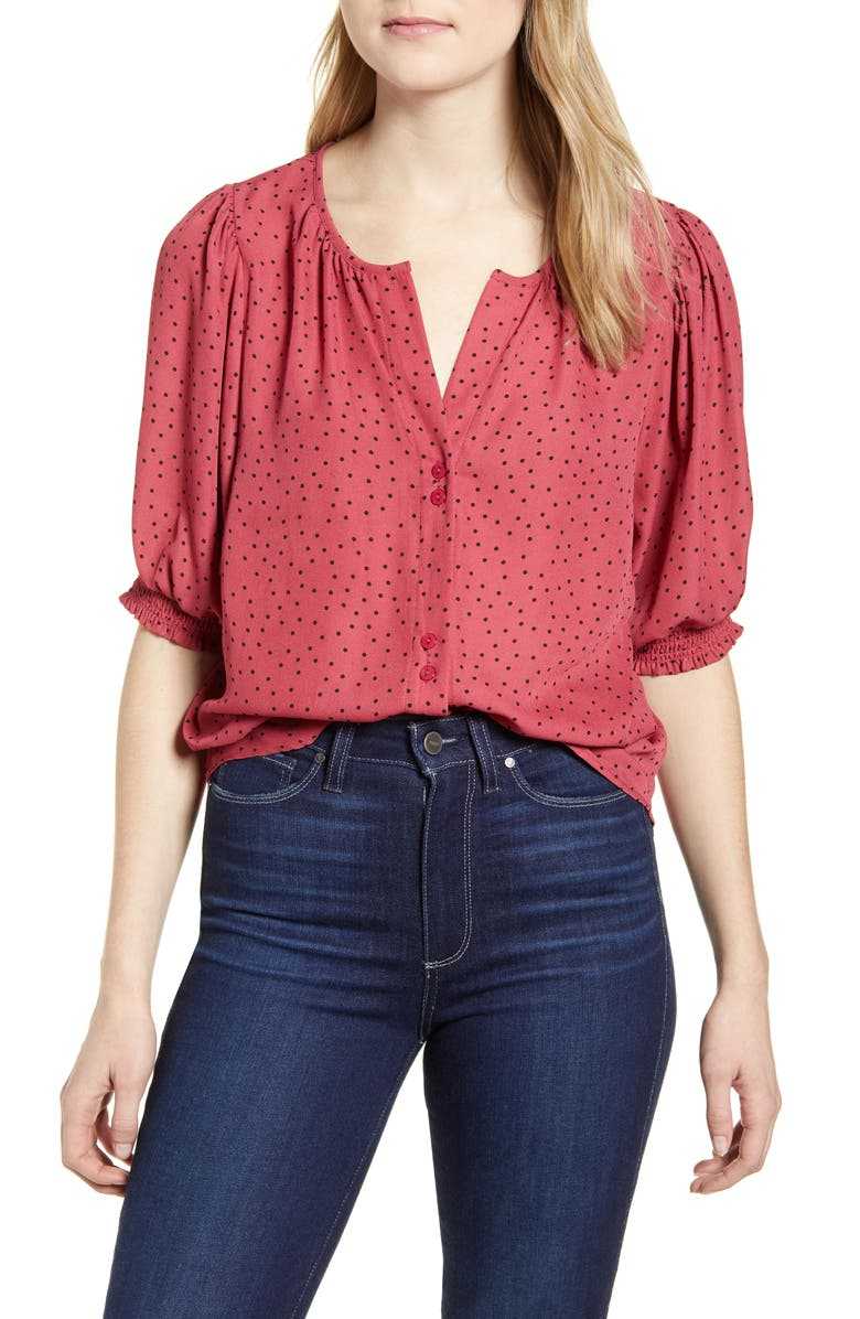 BOBEAU Valerie Dotted Puff Sleeve Blouse, Main, color, ROSE DOT