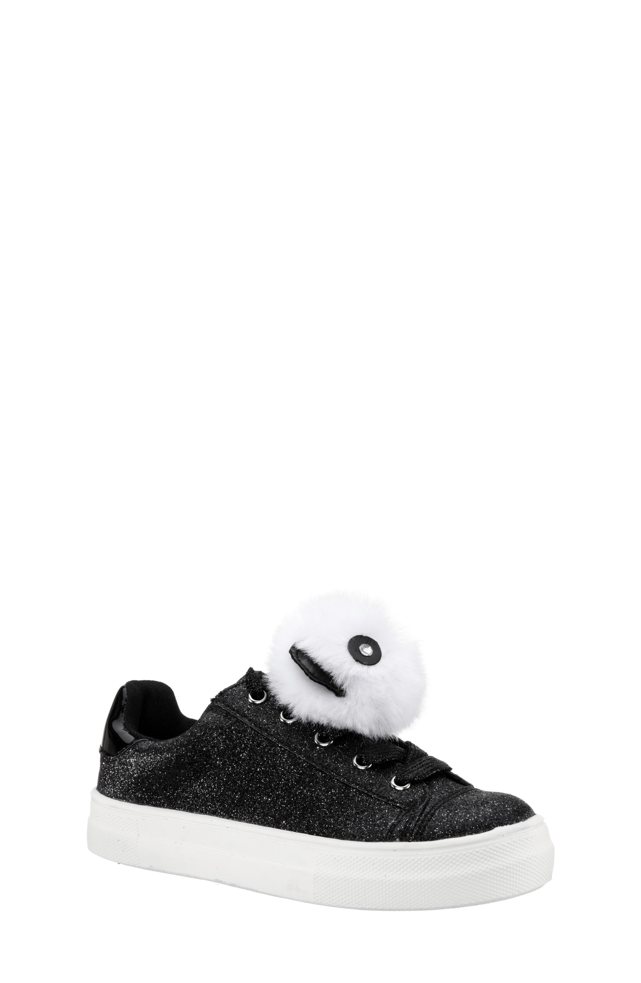 Toddler Girls Nina Britteni Animal Pompom Glitter Sneaker Size 10 M  Black