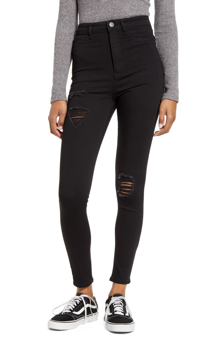 TINSEL Ripped High Waist Skinny Jeans, Main, color, BLACK