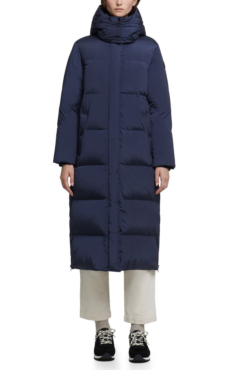 WOOLRICH Aurora Water Repellent Long Puffy Down Parka, Main, color, NAVY MELTON