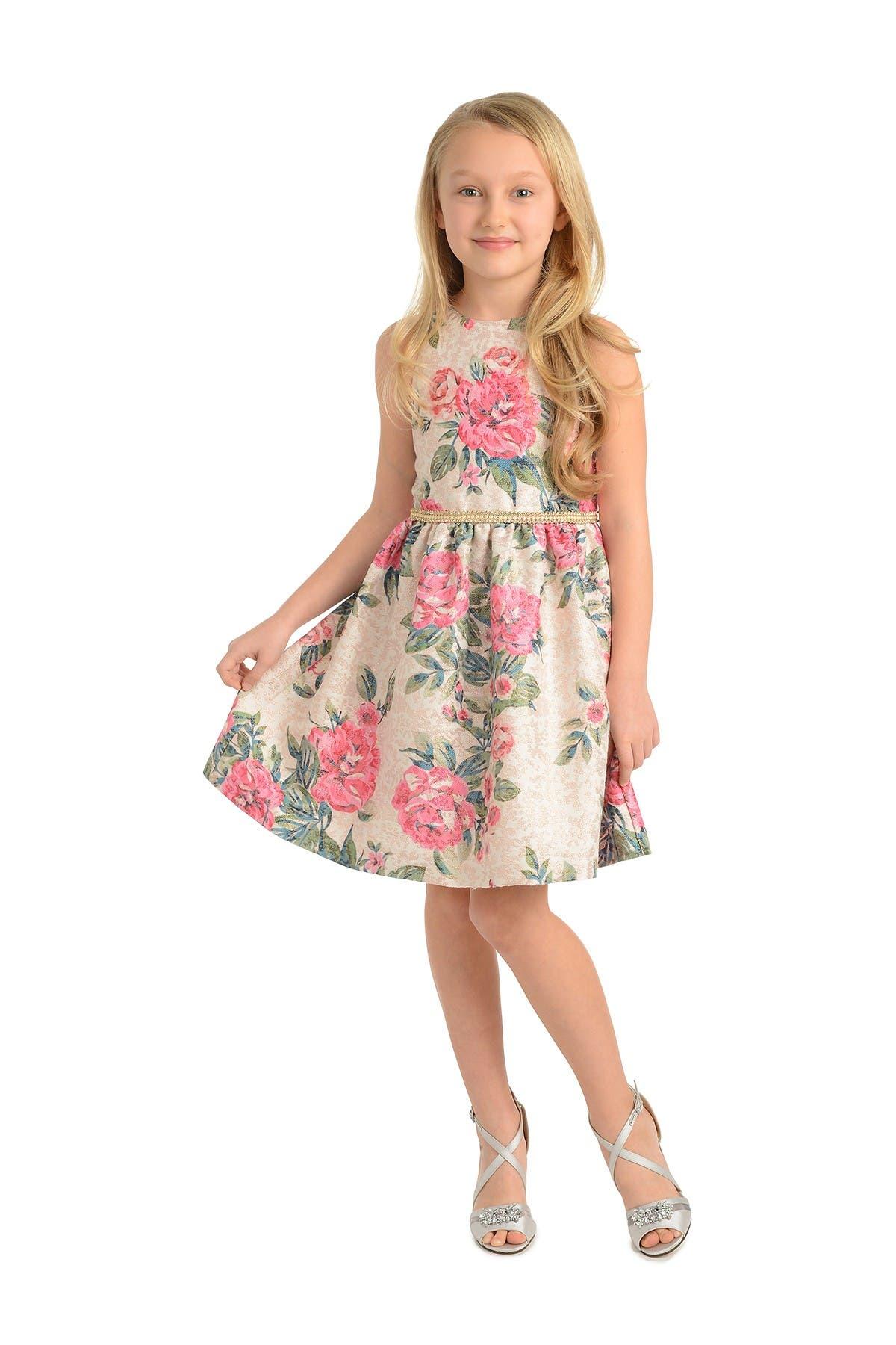Image of Badgley Mischka Metallic Floral Print Dress