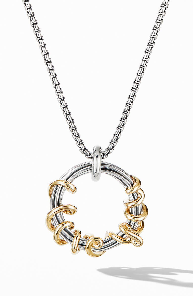 DAVID YURMAN Cable Collectibles I Love You Pendant Necklace with 14K Gold, Main, color, SILVER/ YELLOW GOLD