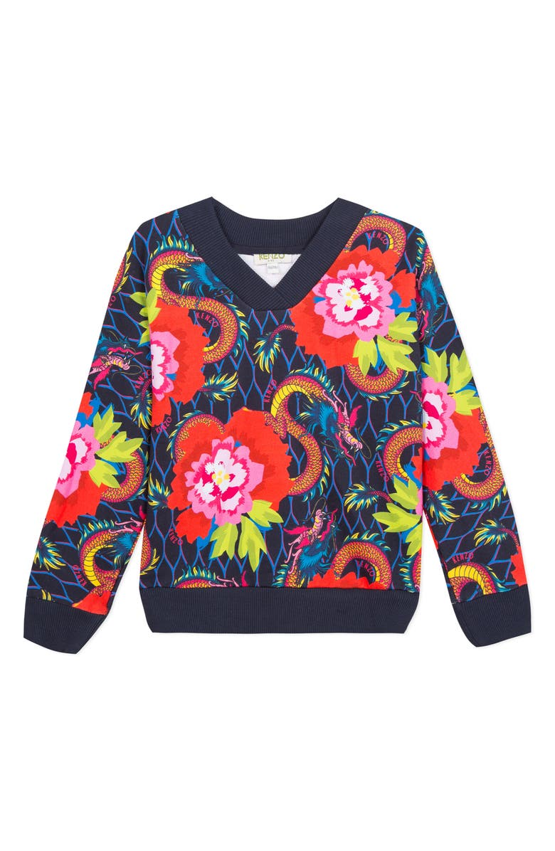 KENZO Dragon Flower Sweatshirt, Main, color, MARINE BLUE