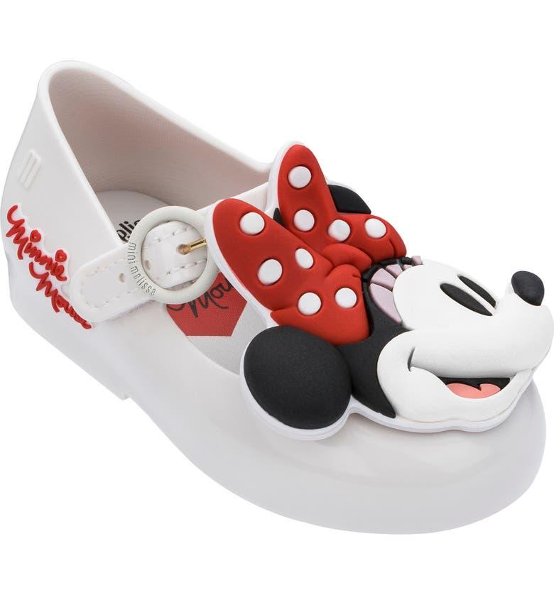 MINI MELISSA x Disney Minnie Mouse Mary Jane Flat, Main, color, WHITE