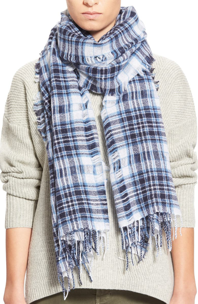 MADEWELL 'Fulton Plaid' Open Weave Scarf, Main, color, 400