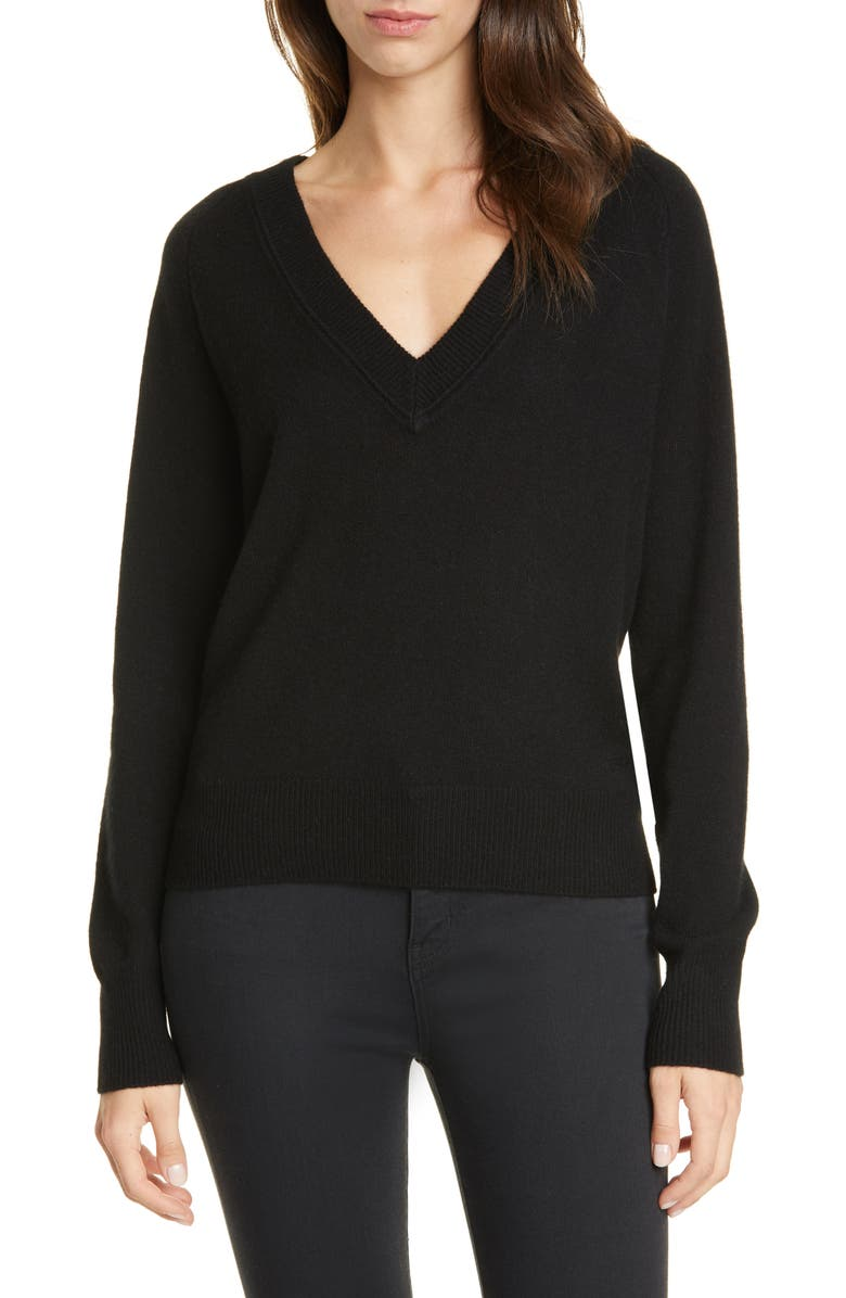 EQUIPMENT Madalene Cashmere Sweater, Main, color, TRUE BLACK