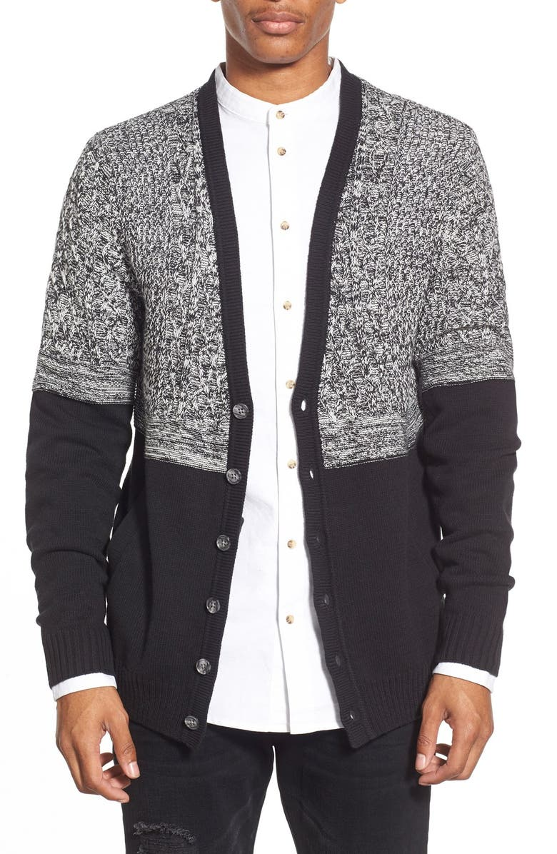 THE RAIL 'Everett' Textured Mixed Knit Colorblock Cardigan, Main, color, 001