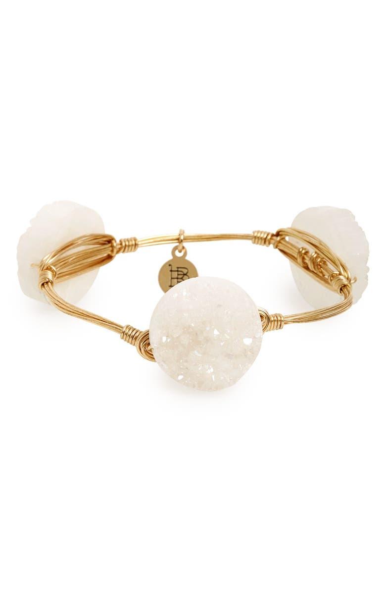 BOURBON AND BOWETIES Drusy Stone Bracelet, Main, color, White
