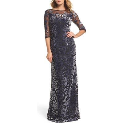 La Femme Burnout Velvet Gown, Metallic