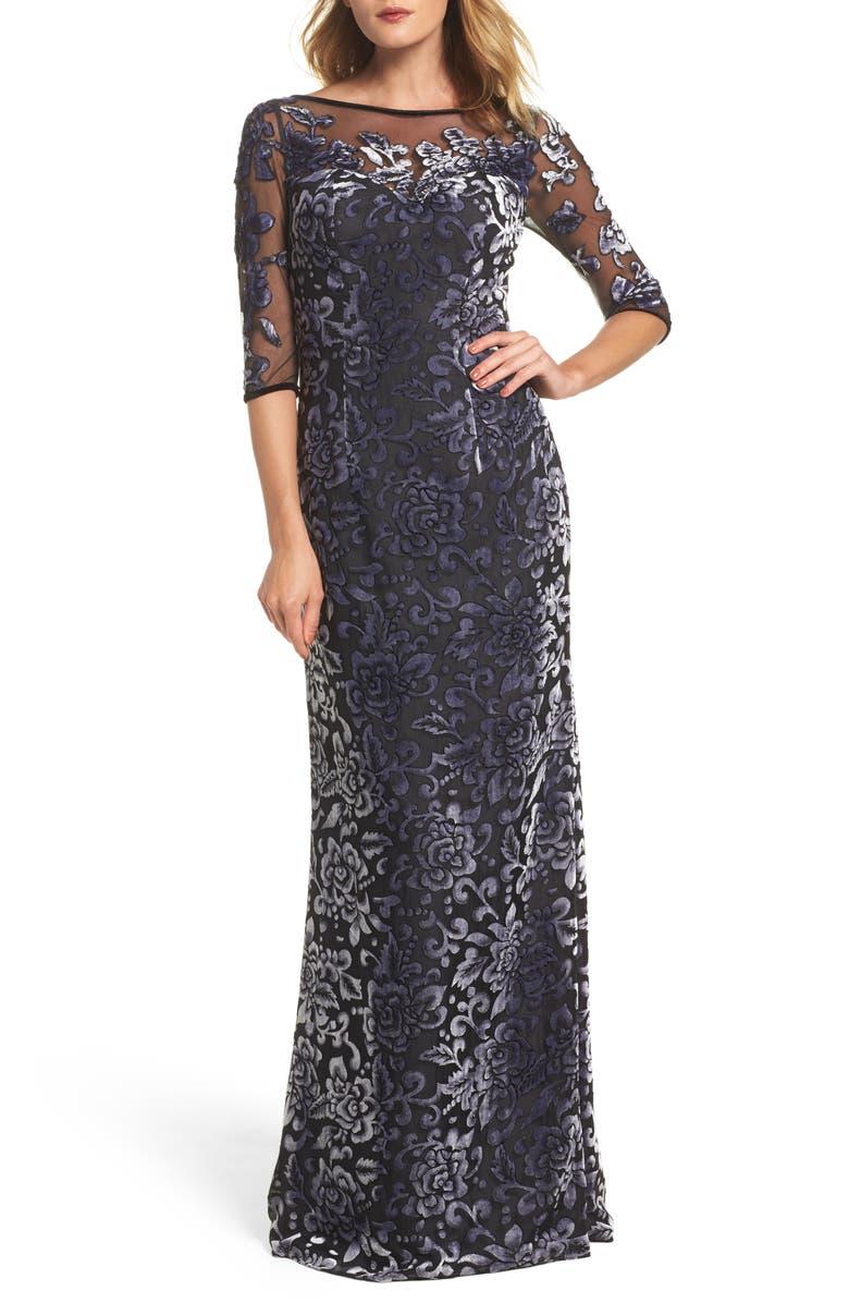 LA FEMME Burnout Velvet Gown, Main, color, GUNMETAL