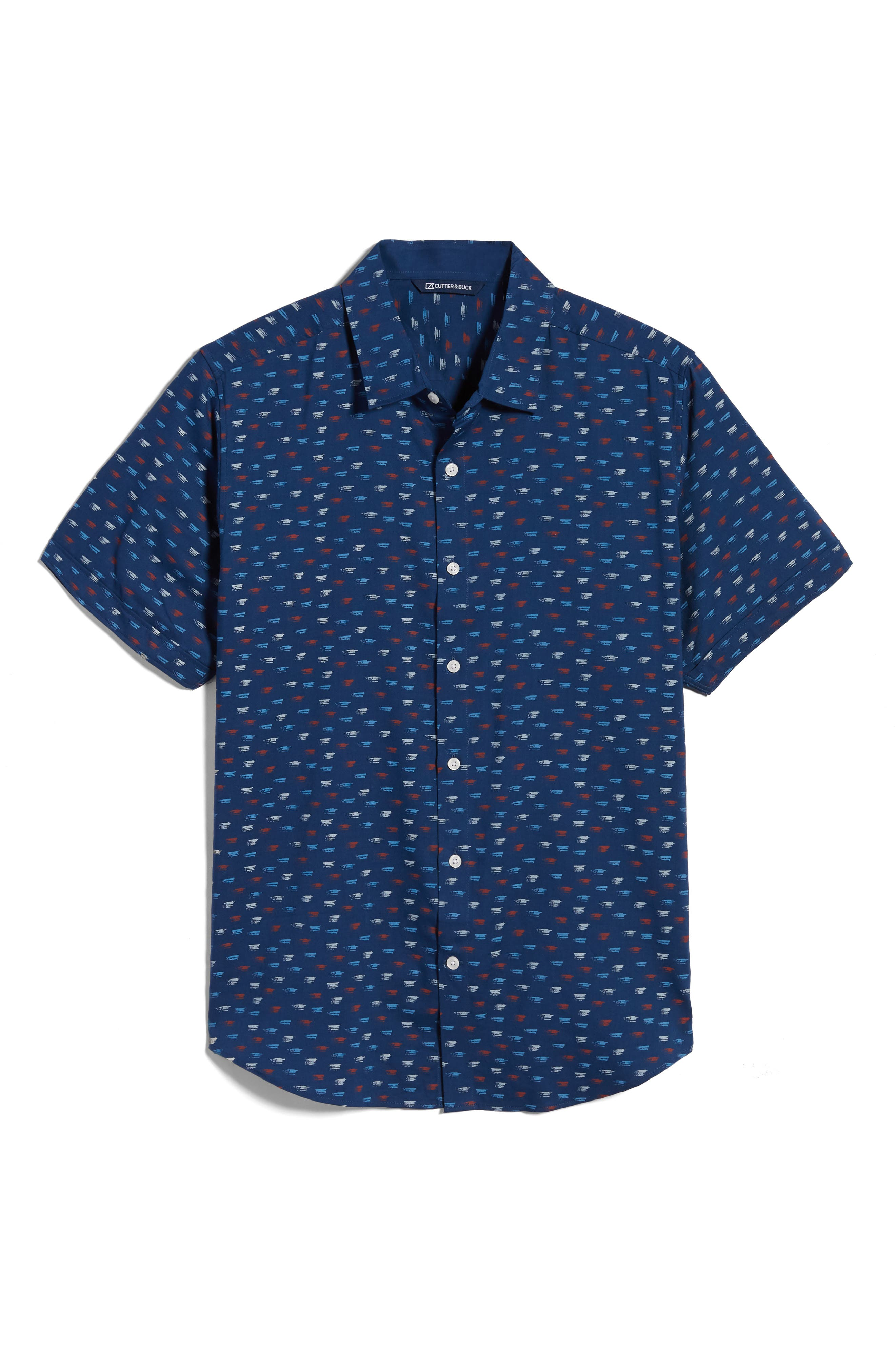 Men s Cutter amp Buck Windward Short Sleeve Button Up Shirt