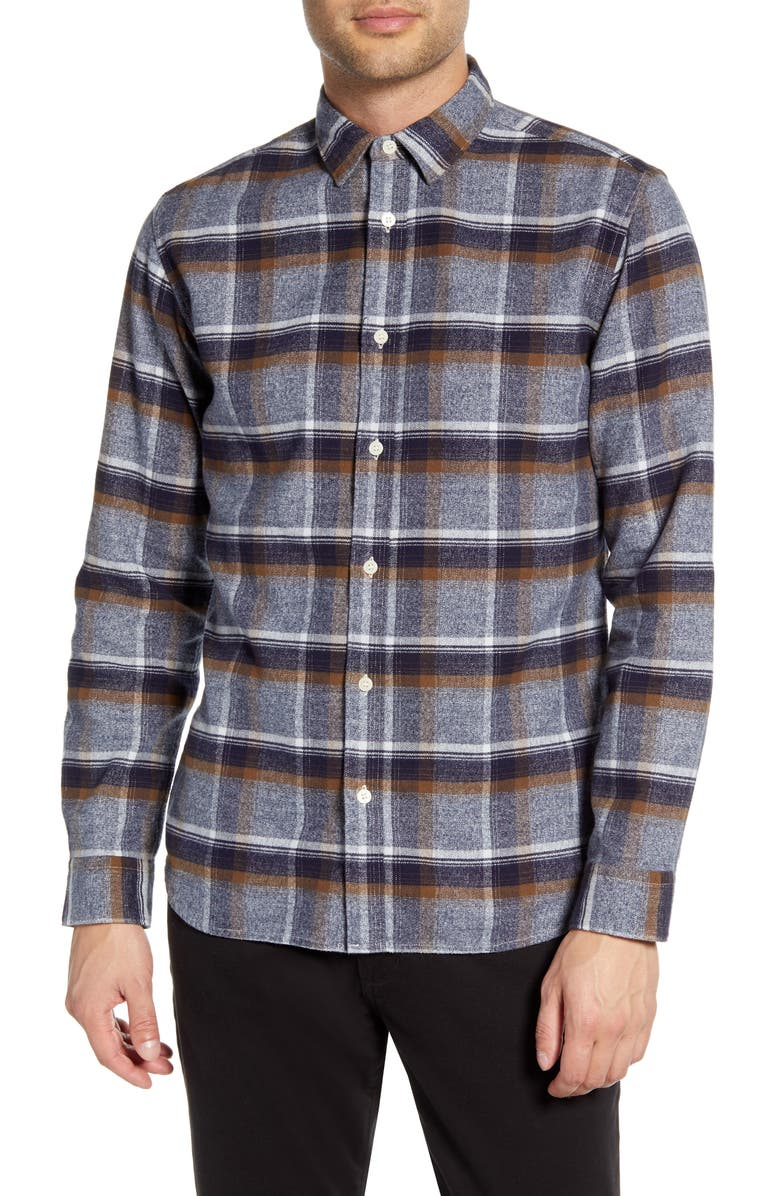 SELECTED HOMME Gunnar Niels Regular Fit Plaid Button-Up Flannel Shirt, Main, color, DARK BLUE