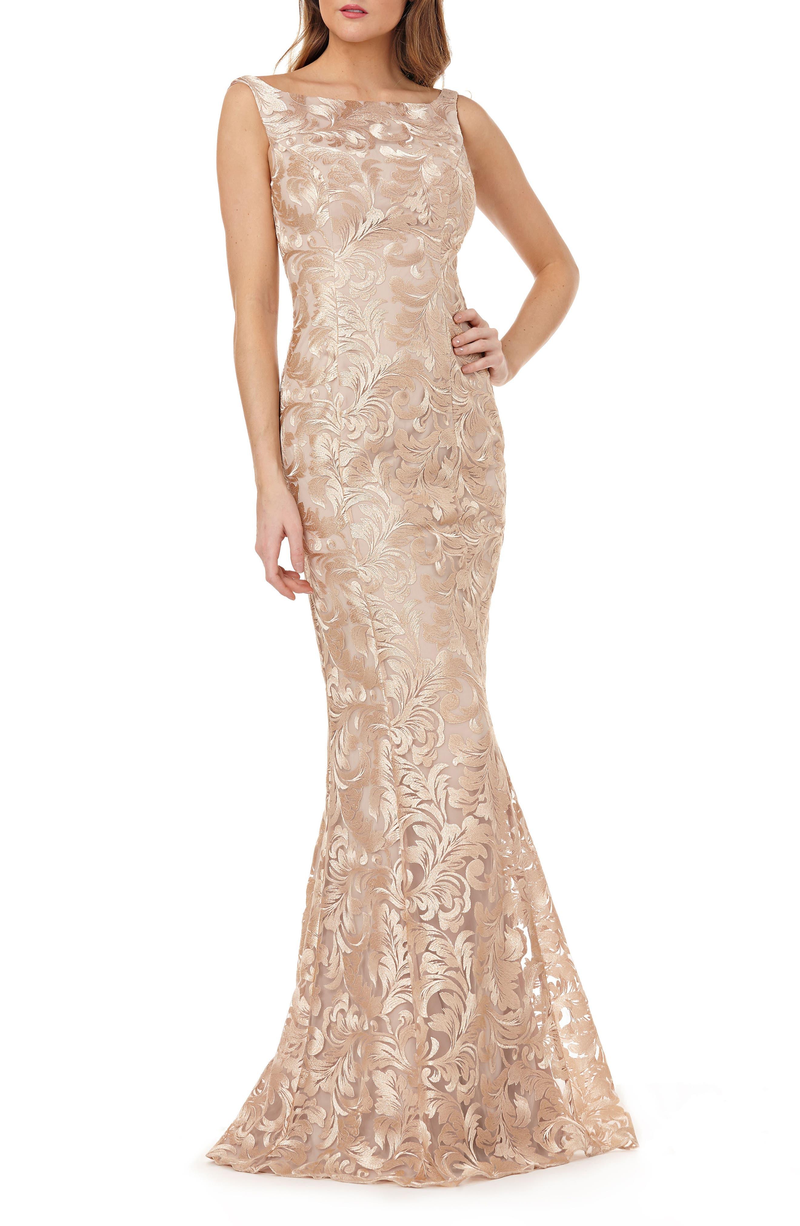 Kay Unger Sleeveless Metallic Embroidery Mermaid Gown, Beige