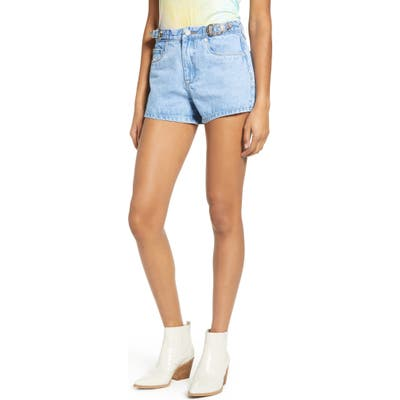 Blanknyc The Barrow Buckle High Waist Denim Shorts, Blue
