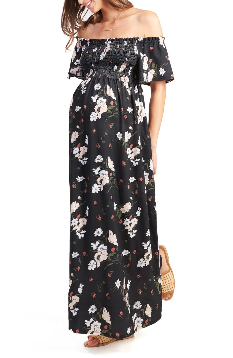 INGRID & ISABEL<SUP>®</SUP> Off the Shoulder Maternity Maxi Dress, Main, color, BLACK ARTIST FLORAL