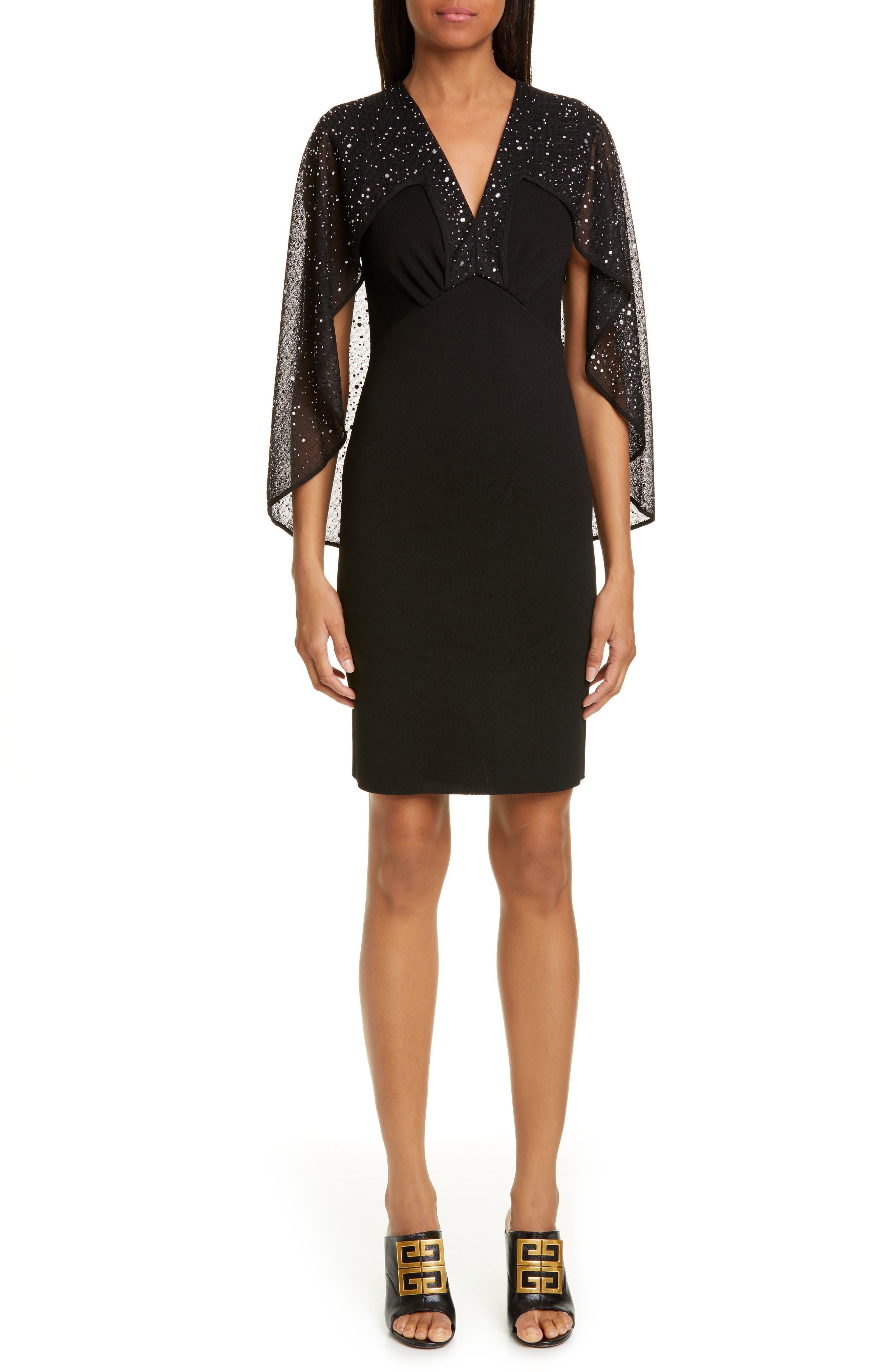 Givenchy Embellished Cape Knit Sheath Dress, Black