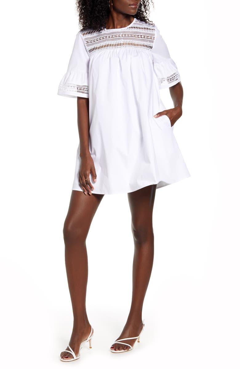 ENGLISH FACTORY Lace Trim Shift Dress, Main, color, WHITE