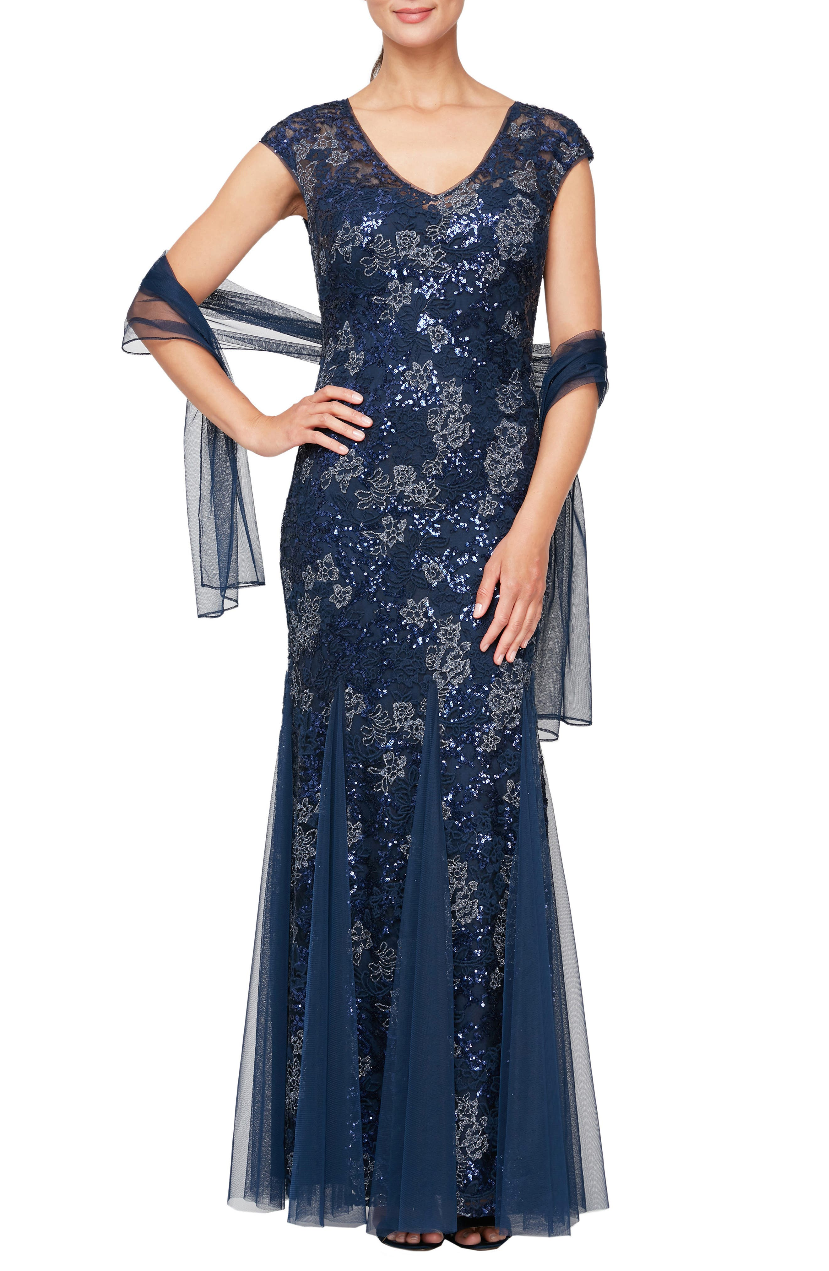 Sequin Embroidered Trumpet Gown