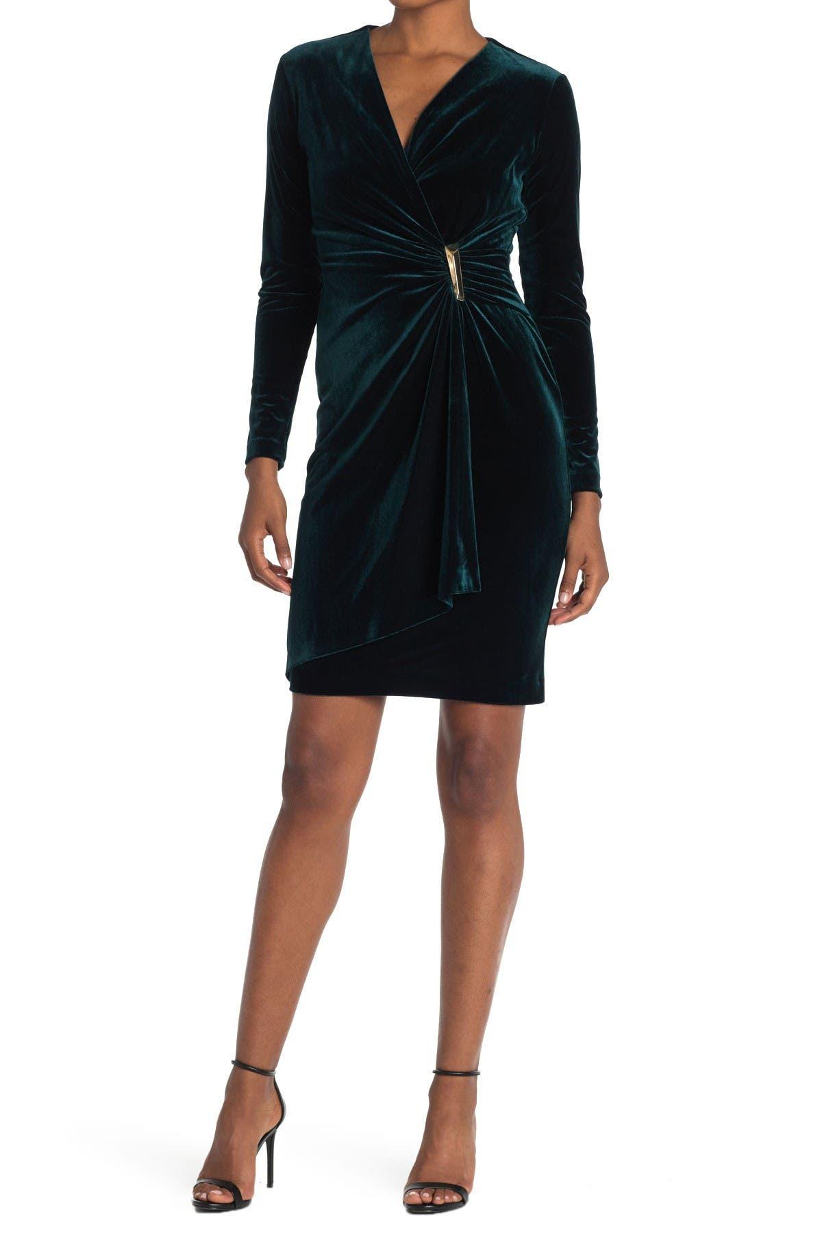 Image of Calvin Klein Velvet Faux Wrap Sheath Dress