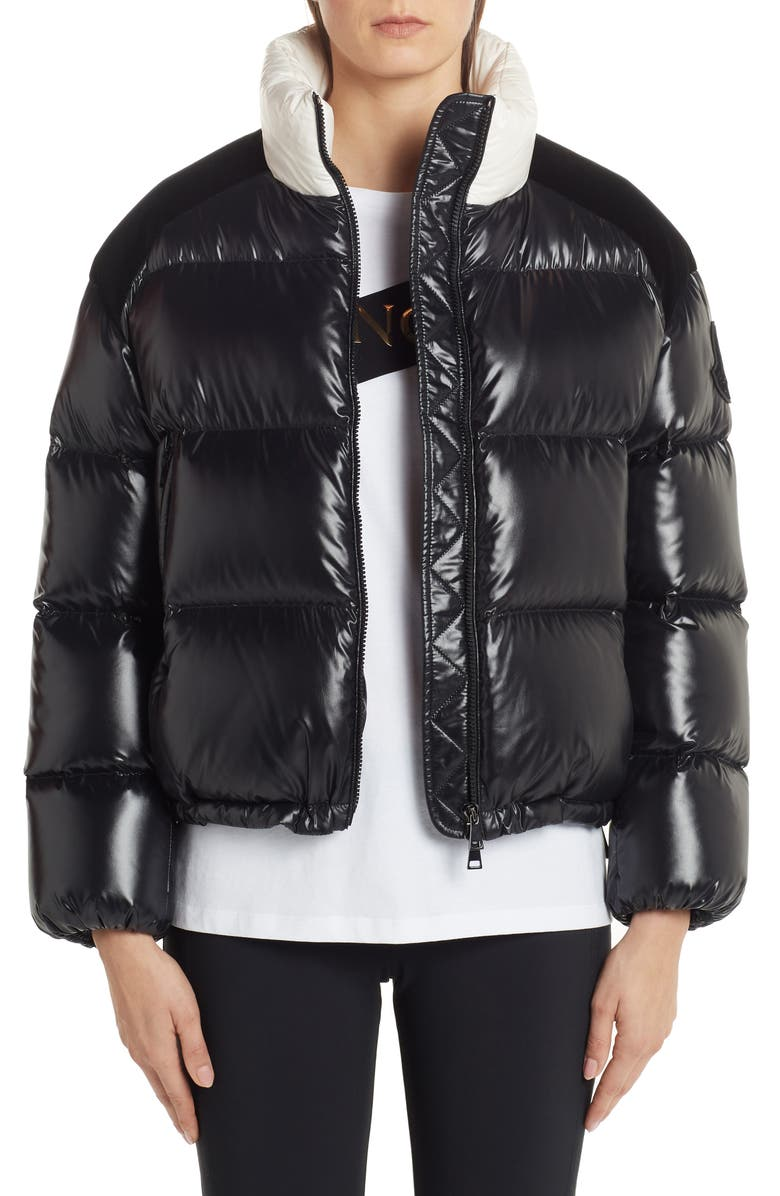 MONCLER Chouelle Logo Print Quilted Down Puffer Jacket, Main, color, BLACK