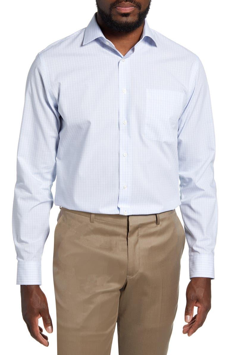 NORDSTROM MEN'S SHOP Trim Fit Non-Iron Check Dress Shirt, Main, color, 450