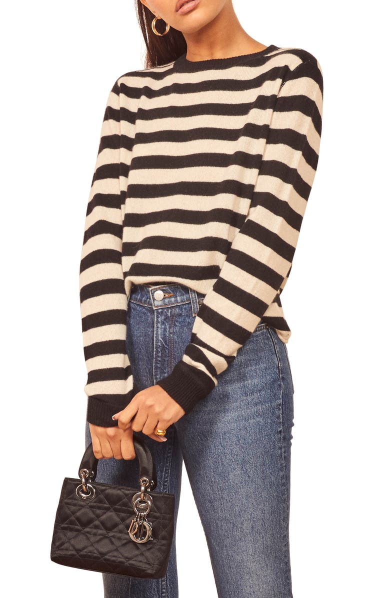 REFORMATION Cashmere Blend Sweater, Main, color, PABLO STRIPE