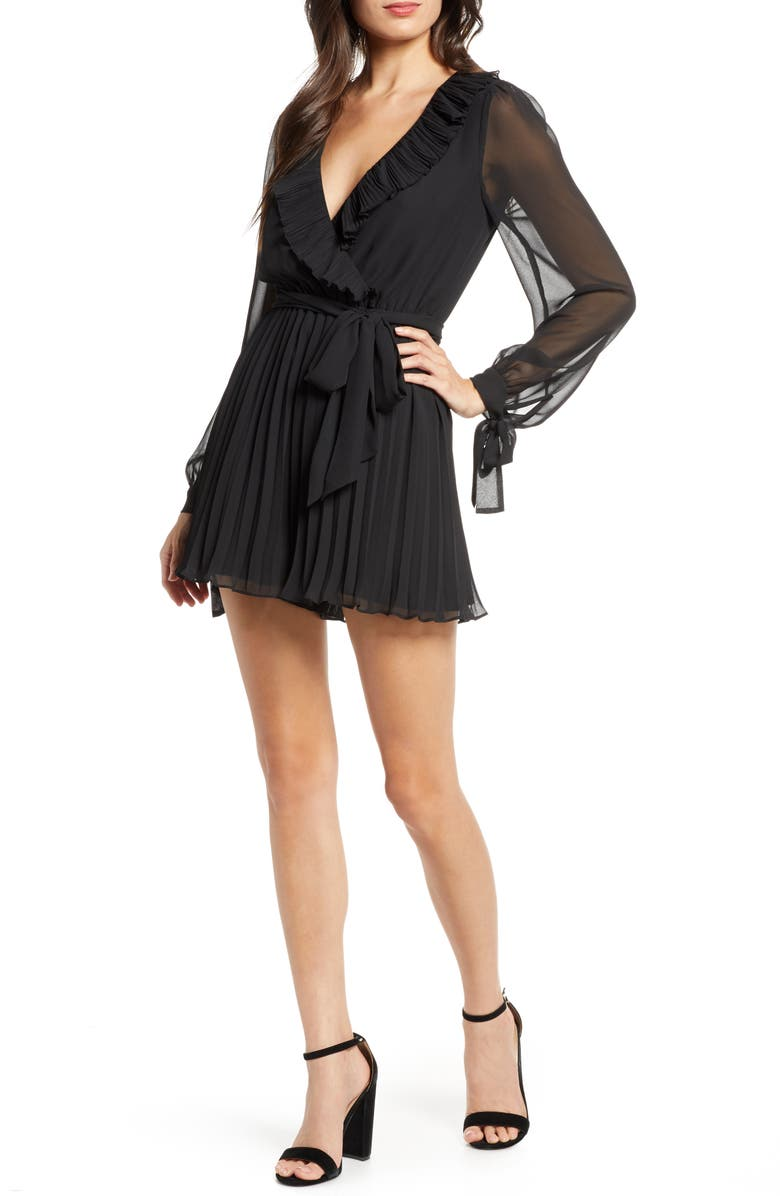 ALI & JAY Hollywood or Bust Long Sleeve Pleated Chiffon Romper, Main, color, BLACK