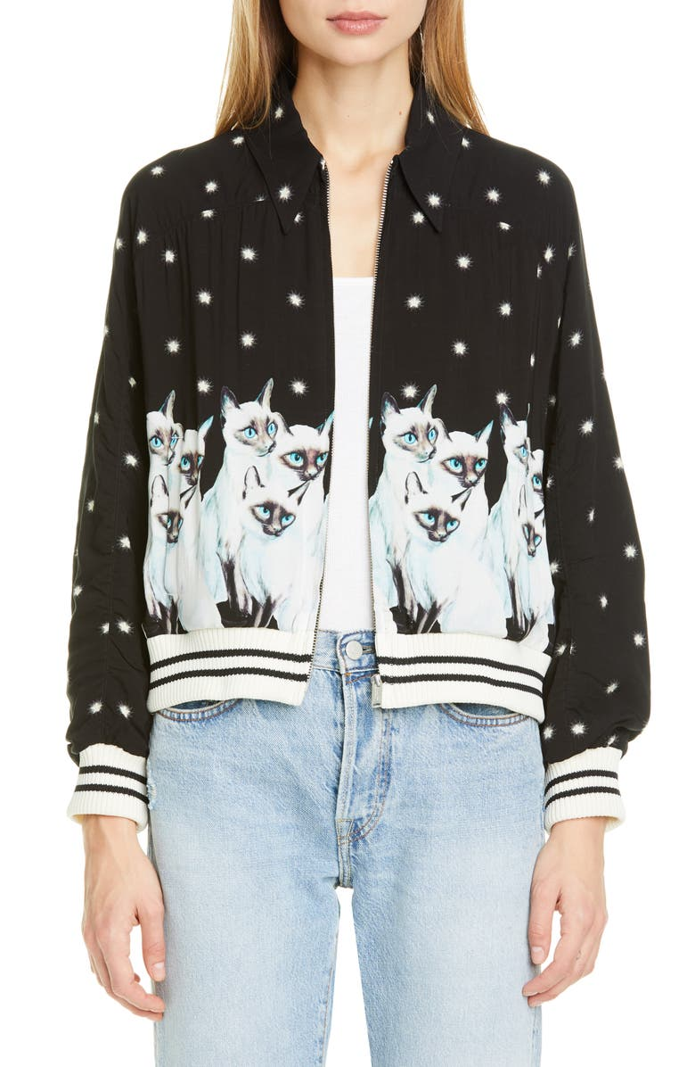 UNDERCOVER Siamese Cat & Stars Graphic Bomber Jacket, Main, color, BLACK BASE