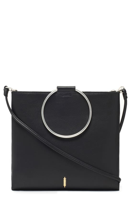 Thacker Le Pouch Ring Handle Leather Shoulder Bag In Black W/silver
