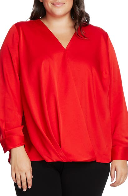 Vince Camuto Tops WRAP FRONT HAMMERED SATIN BLOUSE