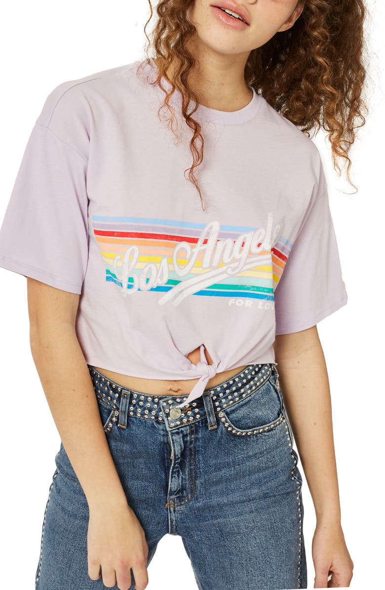 TOPSHOP LA Rainbow Stripe T-Shirt, Main, color, 530