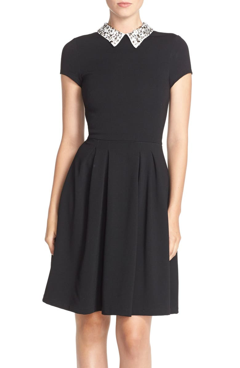 KUT FROM THE KLOTH Embellished Collar PonteFit & Flare Dress, Main, color, BLACK/ IVORY