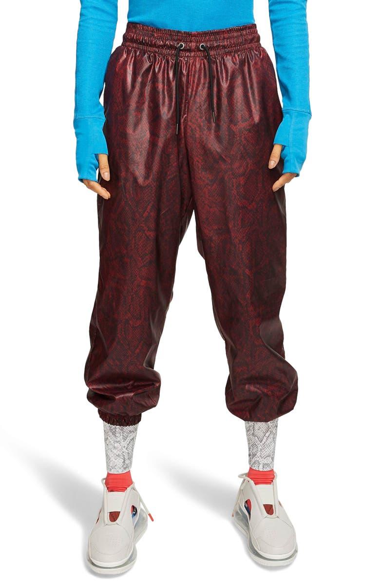 NIKE Python Print Woven Pants, Main, color, TEAM RED/ BLACK