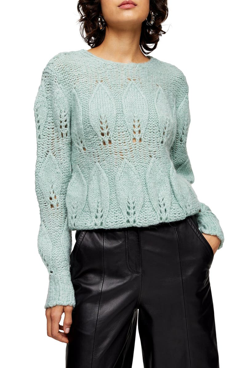 TOPSHOP Petal Pointelle Sweater, Main, color, MINT