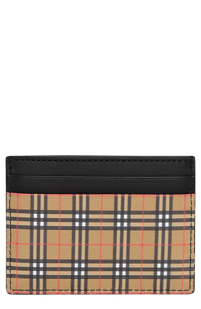 BURBERRY Sandom Check Card Case, Main, color, ANTIQUE YELLOW/ BLACK