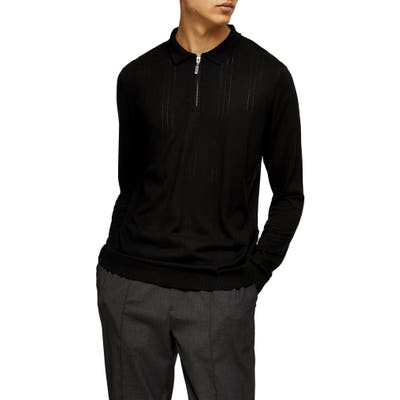 Topman Pointelle Long Sleeve Zip Polo, Black