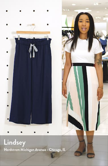Drawstring Crop Linen Blend Pants, sales video thumbnail