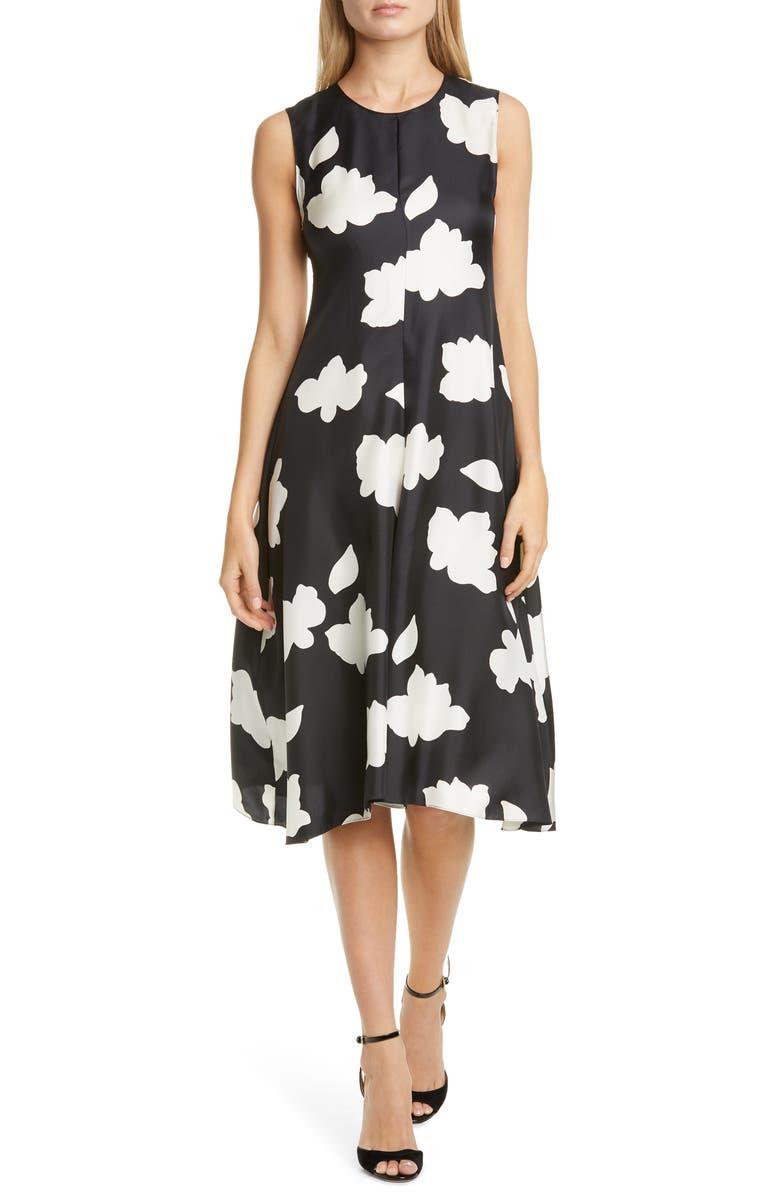 THEORY Nophella Drop Waist Silk Dress, Main, color, BLACK