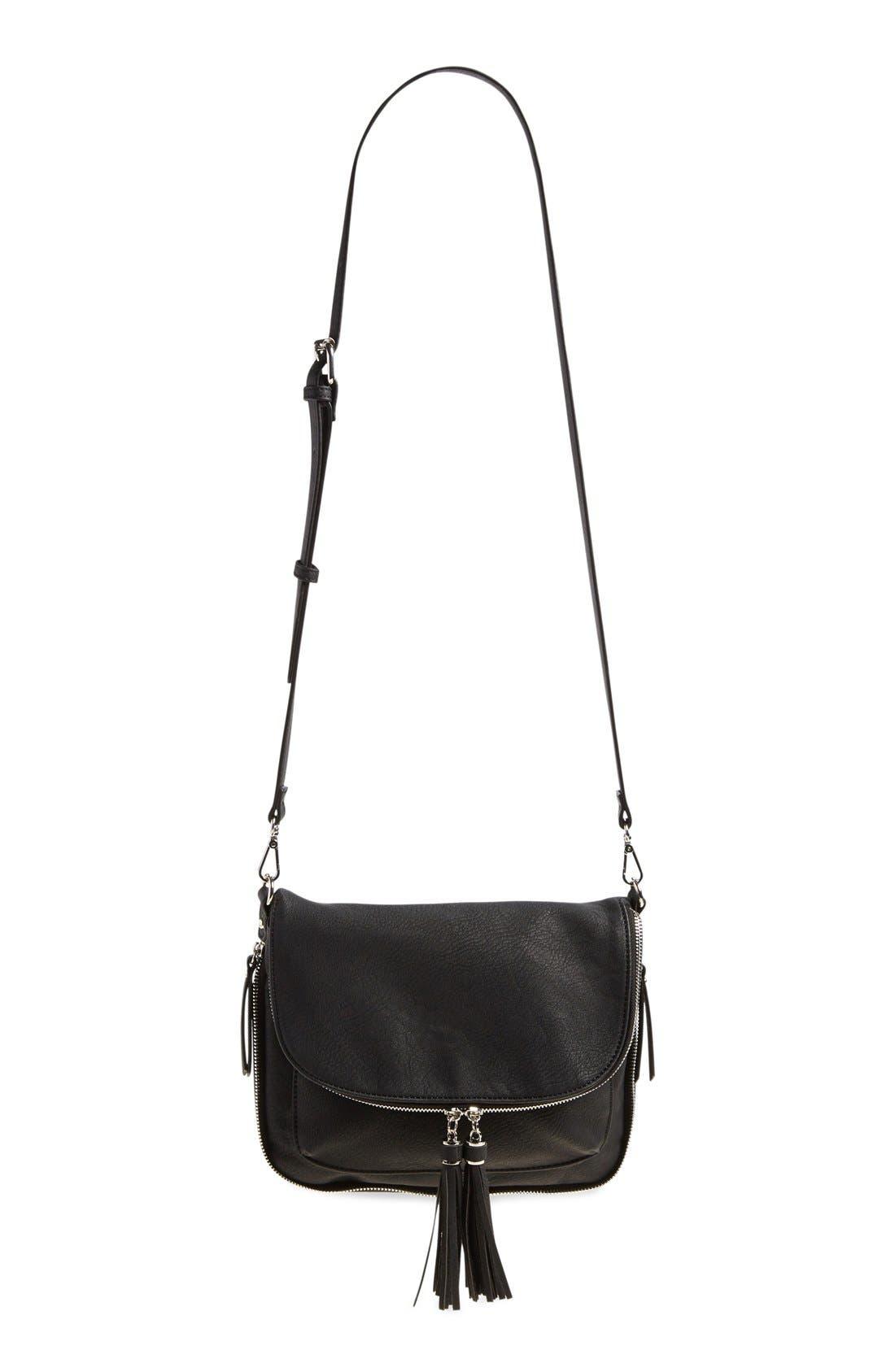 Tassel Crossbody Bag, Main, color, 001