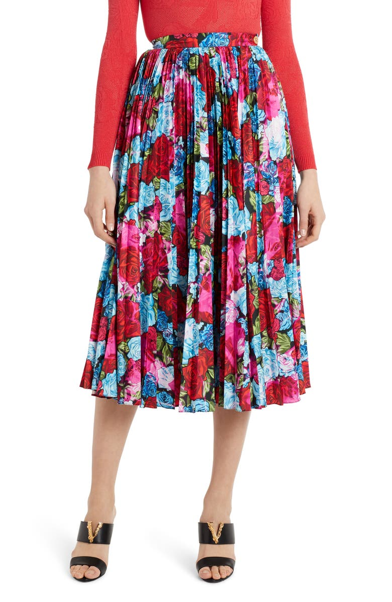 VERSACE Pleated Floral Print Midi Skirt, Main, color, RED/ BABY BLUE/ FUCHSIA
