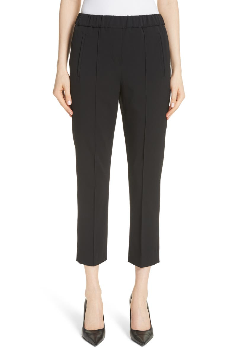MICHAEL KORS Pintuck Wool Blend Trousers, Main, color, BLACK