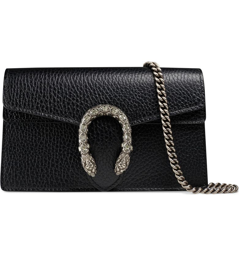 GUCCI Super Mini Dionysus Leather Shoulder Bag, Main, color, 001
