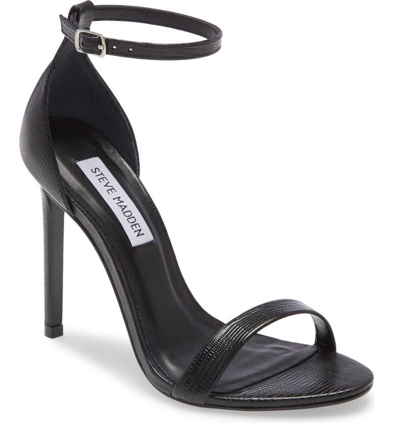 STEVE MADDEN Brandie Ankle Strap Sandal, Main, color, BLACK