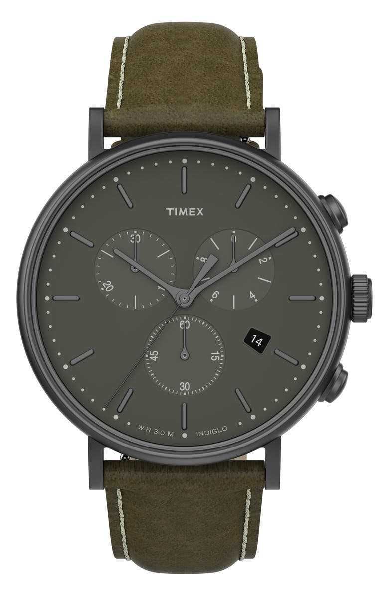 TIMEX<SUP>®</SUP> Fairfield Chronograph Leather Strap Watch, 41mm, Main, color, OLIVE/ GUNMETAL