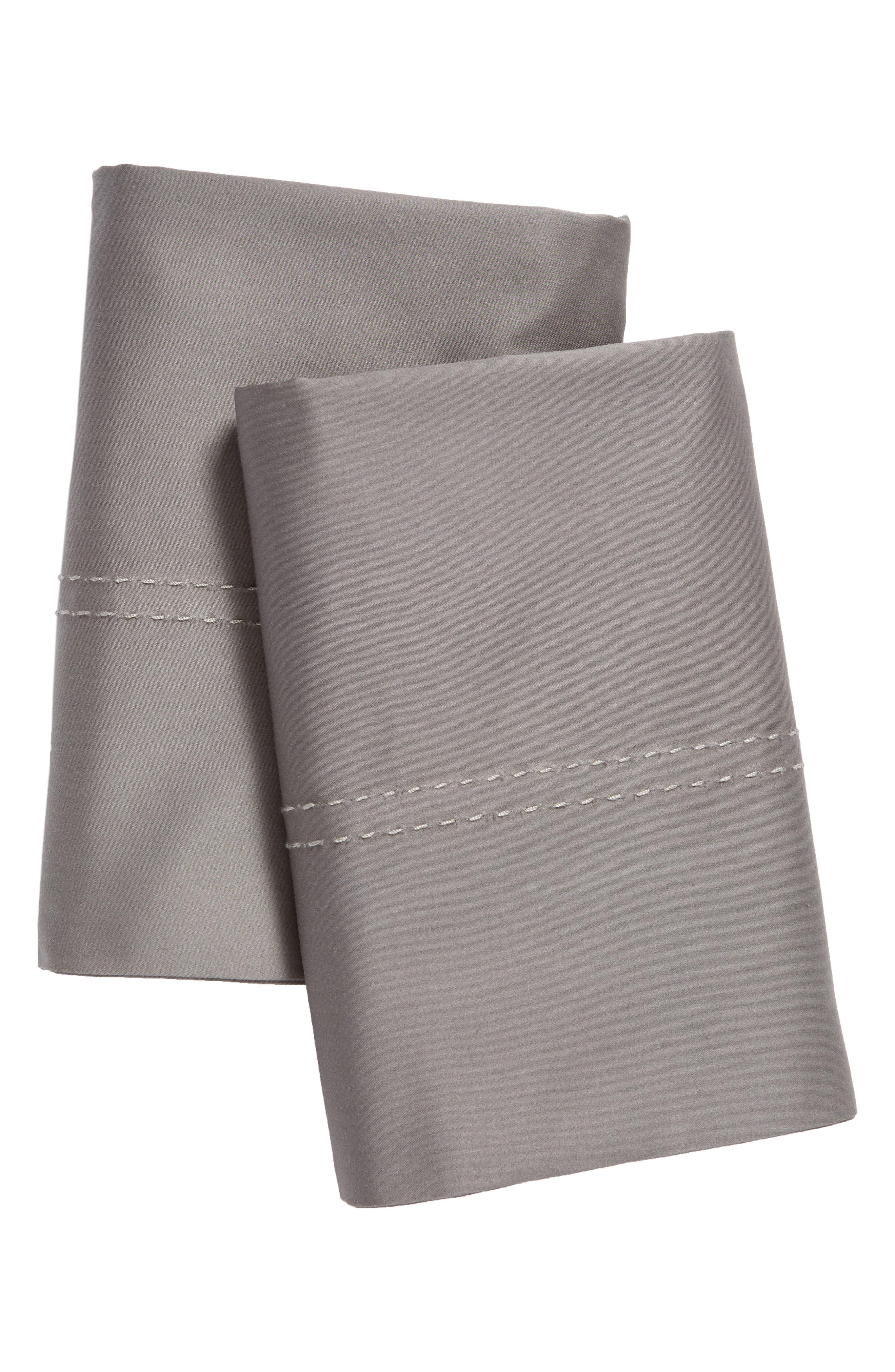 400 Thread Count Organic Cotton Pillowcases, Main, color, GREY PEARL