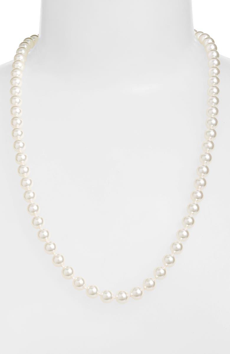 NADRI 24-Inch Glass Pearl Strand Necklace, Main, color, WHITE PEARL