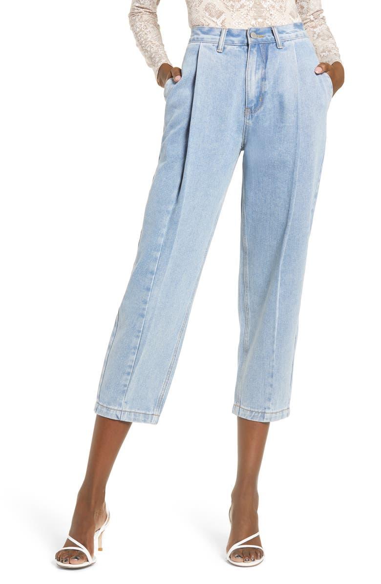 ENGLISH FACTORY High Waist Pleated Mom Jeans, Main, color, DENIM