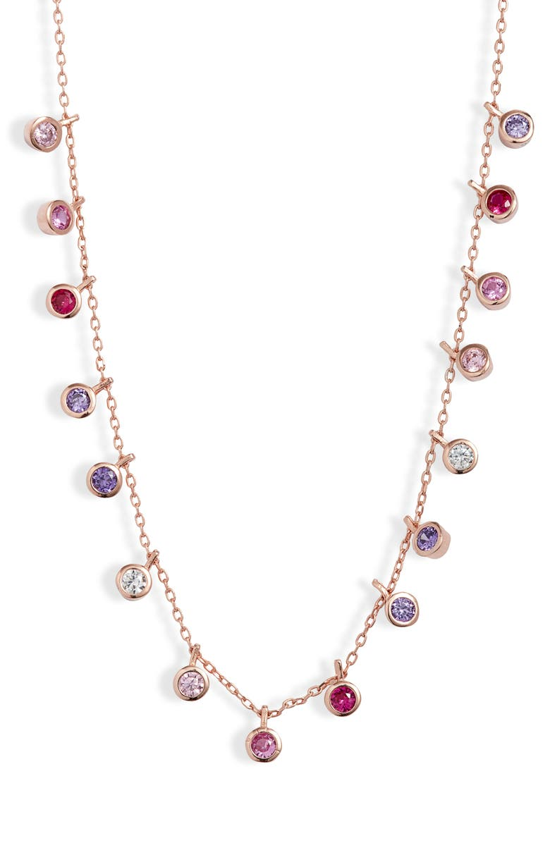 ADINA'S JEWELS Adina's Jewels Pastel Bezel Necklace, Main, color, ROSE GOLD