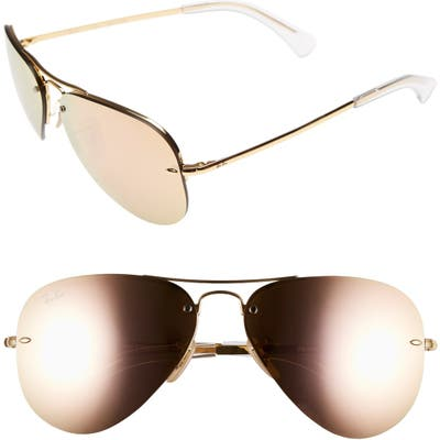 Ray-Ban Highstreet 5m Semi Rimless Aviator Sunglasses - Brown/ Pink